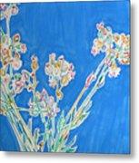 Wild Flowers On Blue Metal Print