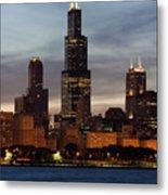 Willis Tower At Dusk Aka Sears Tower Metal Print