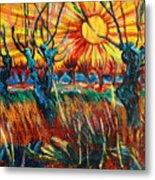 Willows At Sunset - Study Of Vincent Van Gogh Metal Print