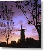 Windmill At Sunset Metal Print