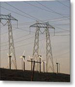Windmills At A Electricity Producing Metal Print by Paul Chesley