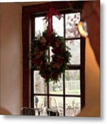 Window Wreath Metal Print
