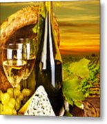 Wine And Cheese Romantic Dinner Outdoor Metal Print
