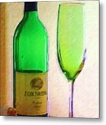 Wine And Glass 2 Metal Print