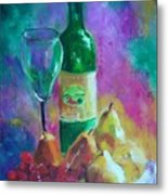Wine Grapes And Pears Metal Print