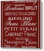 Wine List Red Metal Print by Rebecca Gouin