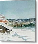 Winter Barn Metal Print by Diane Ziemski