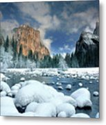 Winter Storm In Yosemite National Park Metal Print