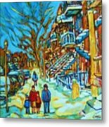 Winter  Walk In The City Metal Print