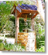 Wishing Well Cambria Pines Lodge Metal Print by Arline Wagner