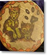 Wolf Pup Drum Metal Print