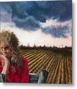 Woman By A Plowed Field Metal Print