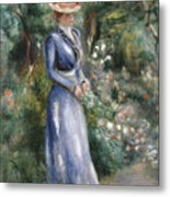Woman In A Blue Dress Standing In The Garden At Saint-cloud Metal Print by Pierre Auguste Renoir