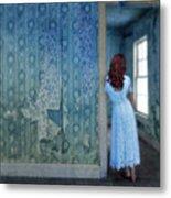 Woman In Abandoned House Metal Print by Jill Battaglia