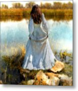 Woman In Victorian Dress By Water Metal Print