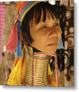 Woman Of The Karen Tribe Metal Print