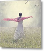 Woman On A Lawn Metal Print