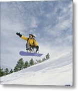Woman Snowboarding On The Cinder Cone Metal Print by Kate Thompson