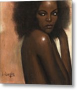 Woman With Afro Metal Print by L Cooper