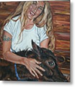 Woman With Foal Metal Print