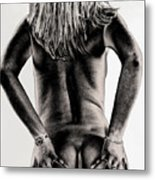 Women Body - Metalic Hands On Metal Print