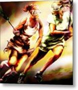 Women In Sports - Lacrosse Metal Print