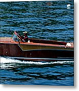 Wooden Boat Waves On Tahoe Metal Print