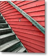 Wooden Steps Against Colourful Siding Metal Print