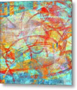 Work 00099 Abstraction In Cyan, Blue, Orange, Red Metal Print by Alex Hall