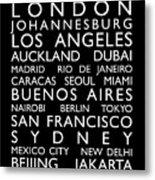 World Cities Bus Roll Metal Print