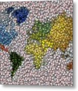 World Map Bottle Cap Mosaic Metal Print