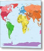 World Map Continents Metal Print