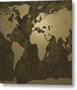 World Map Gold Metal Print