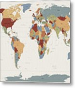 World Map Muted Colors Metal Print