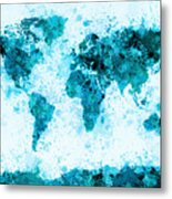 World Map Paint Splashes Blue Metal Print