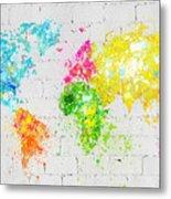 World Map Painting On Brick Wall Metal Print