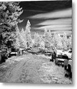 Wrecking Yard In Infrared 3 Metal Print