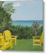 Yellow Chairs At Blue Mountain Beach Metal Print