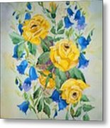 Yellow Roses And Blue Bells Metal Print