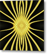 Yellow Starburst On Black Metal Print