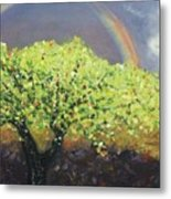 Yellow Tree And Purple Sky Metal Print