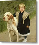 Young Child And A Big Dog Metal Print