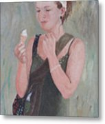 Young Woman And Ice-cream Metal Print