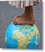 Young Woman Standing On Globe Metal Print by Garry Gay
