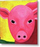 Yuling The Happy Pig Metal Print by Kristi L Randall