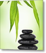 Zen Basalt Stones And Bamboo Metal Print by Pics For Merch