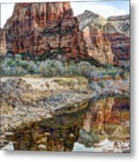 Zions National Park Angels Landing - Digital Painting Metal Print