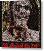 Zombie Bottle Cap Mosaic Metal Print