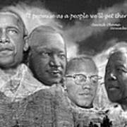 Black Rushmore Grayscale Poster