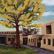 A Tree Grows In The Courtyard, Palace Of The Governors, Santa Fe, Nm Poster